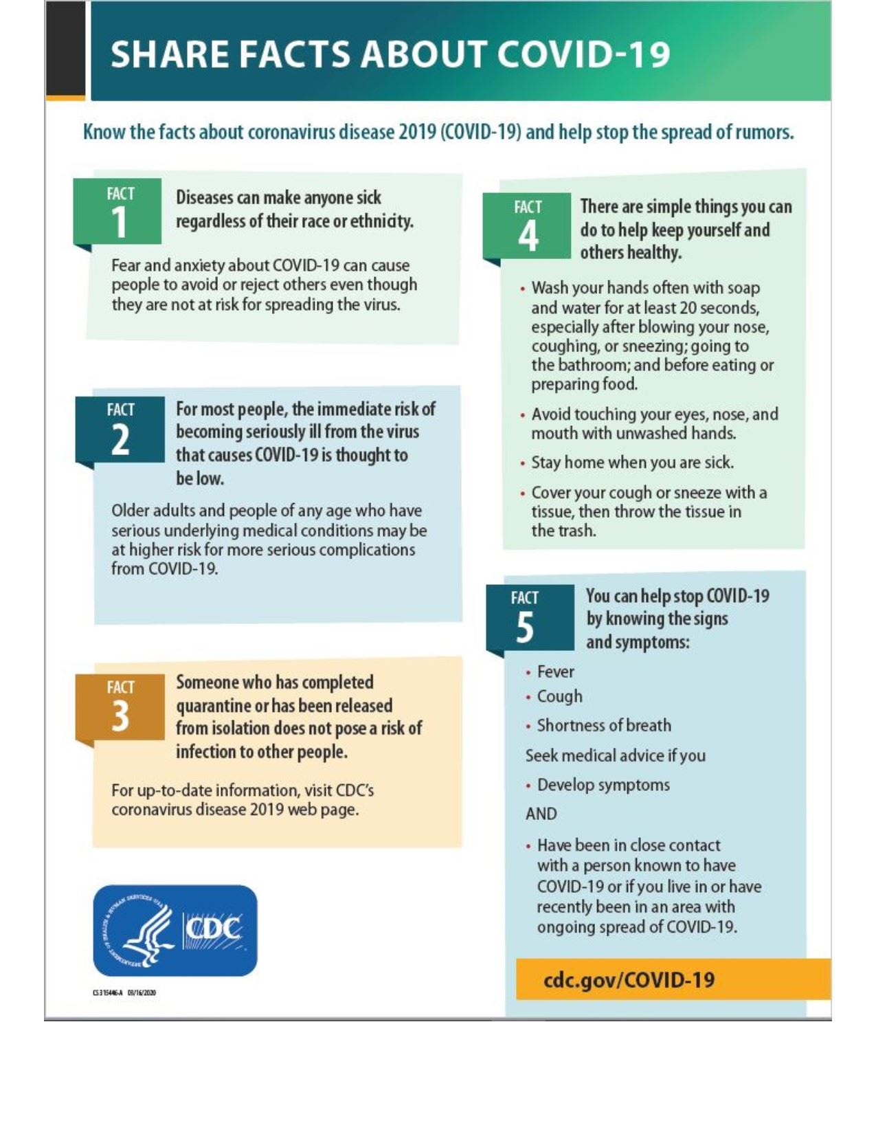 Infographic from the CDC about avoiding COVID-19 rumors.