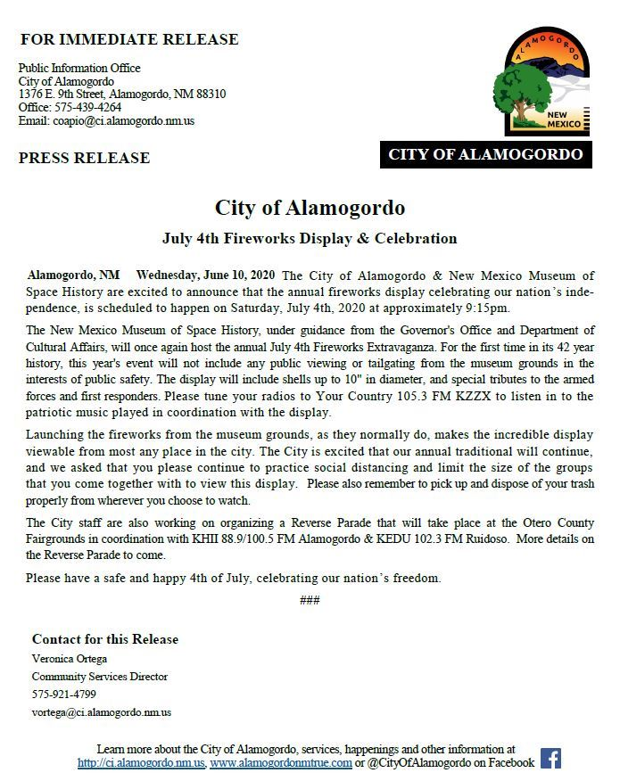 Press Release - July 4th Fireworks 061020