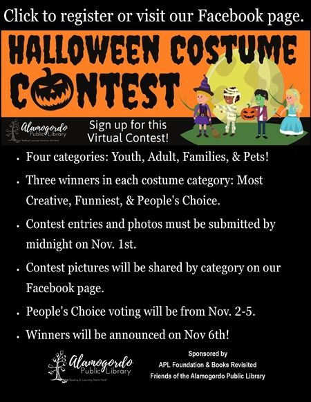Flyer for the Library's 2020 Costume Contest