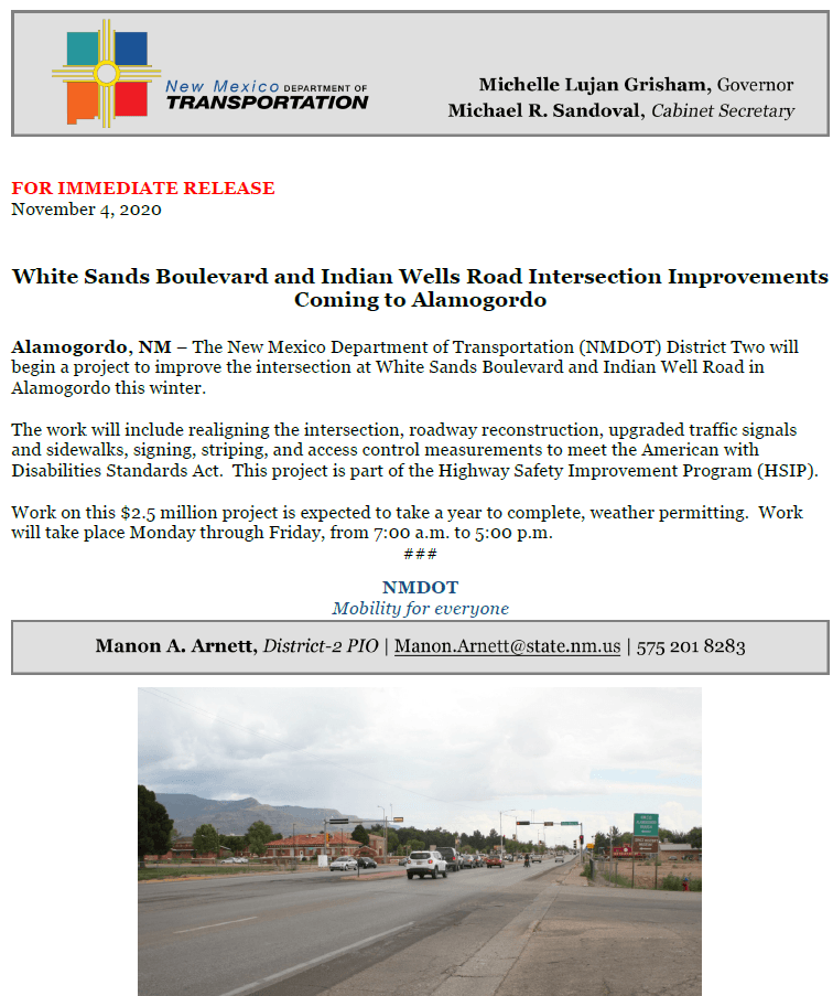 NMDOT Improvement Project at WS Blvd and Indian Wells