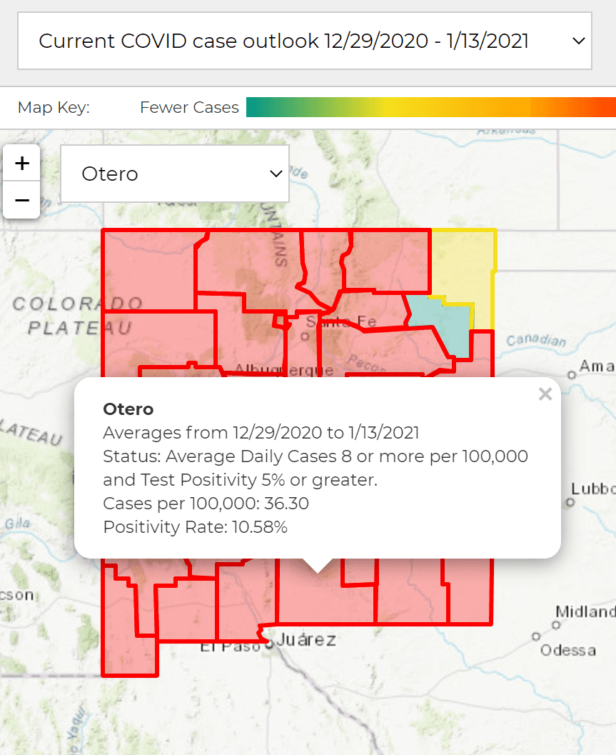 Jan 13 image of NM Covid cases map